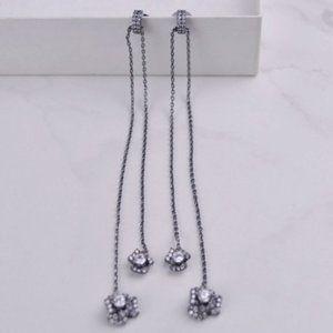 Henri Bendel Zircon Petal Silver Long Earrings
